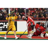 Miles Thompson of the Georgia Swarm reacts after a goal against the Calgary Roughnecks